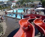 Outdoor water complex with waterslides
