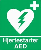 Hjertestarter hnger i informationen, brug telefon eller klokke uden for bningstiden